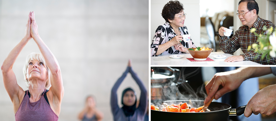 Community center activities: yoga, food, cooking