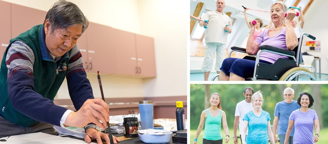 Community center activities: art, exercise, walking